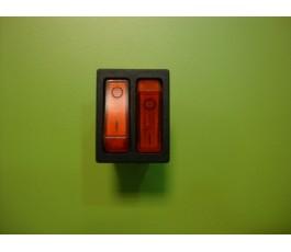 Interruptor doble con luz 6p rojo 32 x 25